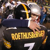 Steelers quarterback Ben Roethlisberger gets a hug from New England Patriots quarterback  Tom Brady following the 2004 AFC championship at Heinz Field.