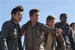 "The ""Maze Runner"" Gladers, from left, Ki Hong Lee, Dylan O'Brien, Thomas Brodie-Sangster, Dexter Darden and Kaya Scodelario face their greatest challenge yet: searching for clues about the mysterious and powerful organization known as WCKD."