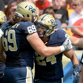 Pitt's Adam Bisnowaty, left, will play in the Senior Bowl next month and James Conner, right, will be honored tonight at the College Football Awards on ESPN.