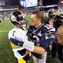 Ben Roethlisberger congratulates Tom Brady after the Patriots beat the Steelers, 28-21, in the 2015 season opener.