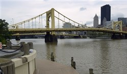 The Roberto Clemente Bridge, above, and the Warhol Bridge are closed today and this evening for Pittsburgh's annual Light-Up Night.