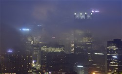 Fog moves in over the  City of Pittsburgh  in early September.