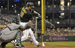 Chris Stewart's two-run single in the fourth inning gives the Pirates a 3-2 lead Friday night at PNC Park. Stewart added a run-scoring single in the sixth.