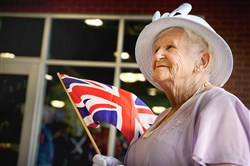 Joan Cynkar, 84, of Turtle Creek  and originally from Widnes, England was the winner and only contestant in the adults category of the Queen Elizabeth II look-alike contest last year during Britsburgh.