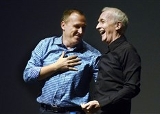 Scott Trowbridge, left, of Walt Disney Imagineering, and Anthony Daniels, who portrays the Star Wars robot C-3PO, give a presentation Thursday at the TEA SATE -- Themed Entertainment Association/Storytelling Architecture Technology Experience -- conference at Carnegie Mellon University.