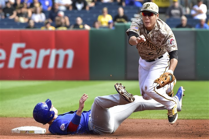 20150917pdPiratesSports03-1 The new rules are designed to protect fielders making double plays, like Jung Ho Kang, from being injured by takeout slides from players like the Cubs' Chris Coghlan. Kang's season came to an end on this play.