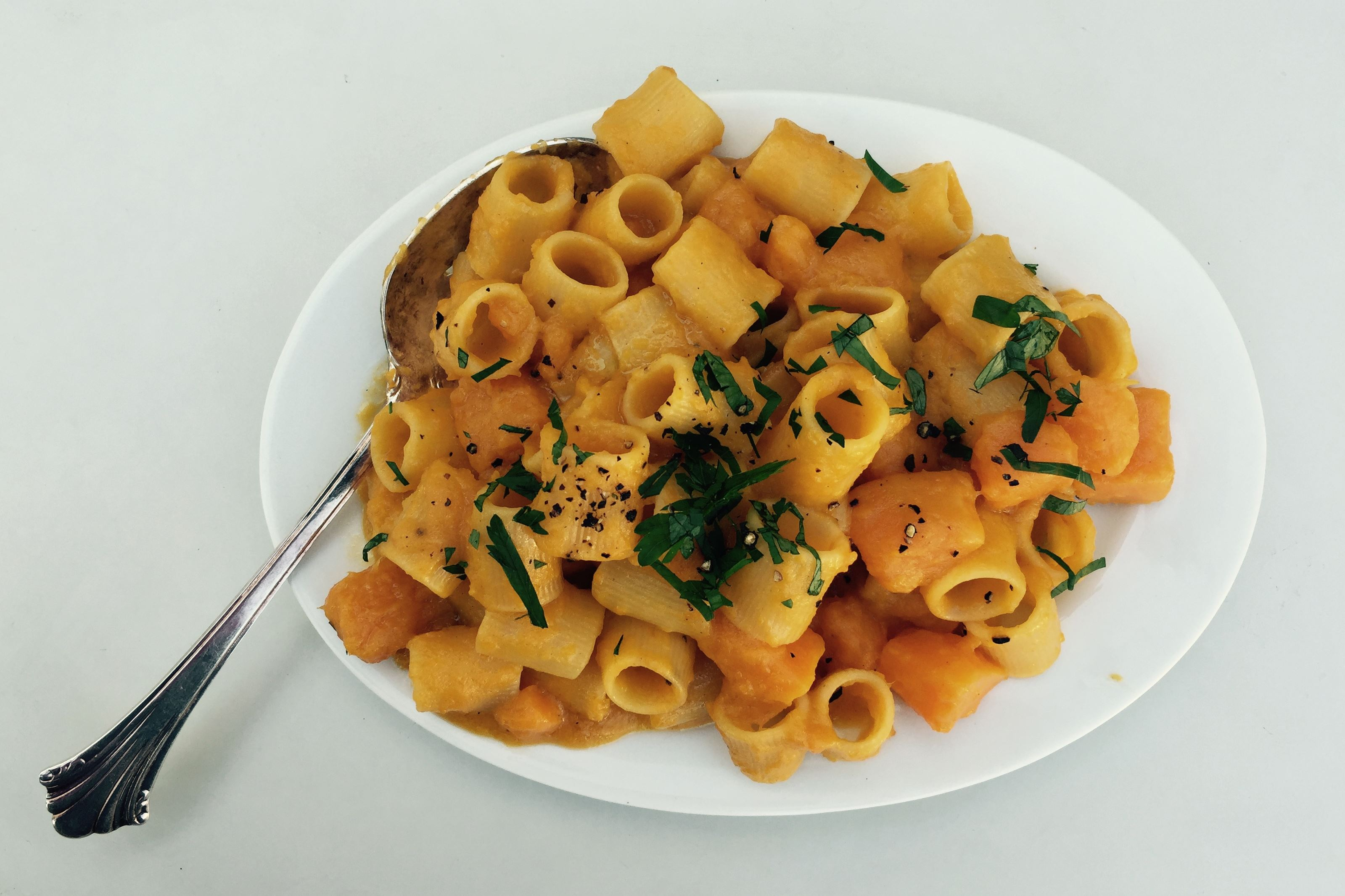 FullSizeRender-4.jpg Pasta con zucca is made by slow braising butternut squash and adding pasta in the last few minutes.