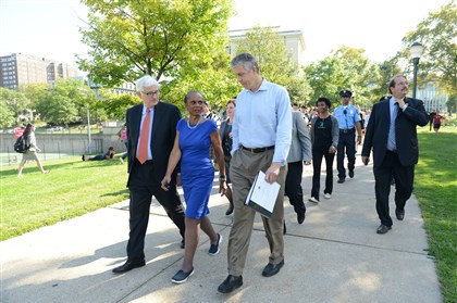 "20150918ppArneDuncan1LOCAL-8 From left, Fred Gilman, dean of Mellon College of Science, and Linda Lane, superintendent of Pittsburgh Public Schools, escort U.S. Department of Education Secretary Arne Duncan across campus to a town hall meeting Friday. The secretary was in town during a stop on the department's Sixth Annual Back-to-School Bus Tour: ""Ready for Success"" across the Midwest."