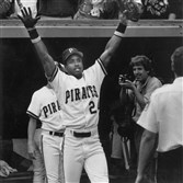 Barry Bonds takes a bow before entering the Pirates clubhouse after they defeated the Philadelphia Phillies, 2-1, to win their second consecutive NL East division championship.