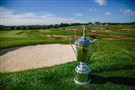 The United States Open Championship Trophy is seen above a bunker along the 3rd fairway during the 2016 U.S. Open Media Day at Oakmont Country Club on September 21, 2015 in Oakmont.
