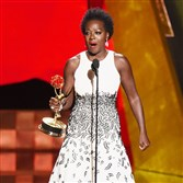 "Viola Davis accepts the award for outstanding lead actress in a drama series for ""How to Get Away With Murder""at the 67th Primetime Emmy Awards on Sunday, Sept. 20, 2015."
