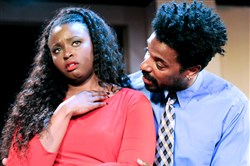 "Pittsburgh - Pittsburgh Playwrights season opener, George S. Kaufman's ""Dulcy"" - Melessie Clark, left,  as ""Dulcy"", and LaMar Darnell Fields as ""Gordon"""