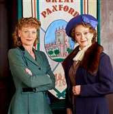 "Samantha Bond, left, as Frances Barden and Francesca Annis as Joyce Cameron in ""Home Fires."""