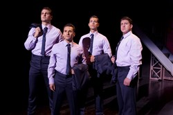 "From left, Keith Hines as Nick Massi, Aaron De Jesus as Frankie Valli, Drew Seeley as Bob Gaudio and Matthew Dailey as Tommy DeVito star in the tour of ""Jersey Boys"" at the Benedum Center through Oct. 4."