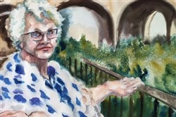 "The artist's mother is the subject of ""Sadie"" by Kathleen Cochran Zimbicki, on display with works by Kevin Kutz at Southern Alleghenies Museum of Art at Loretto, Cambria County."