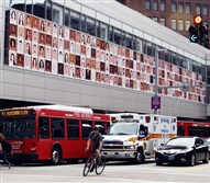 "An art installation titled ""Humanae/I AM AUGUST"" was unveiled Friday on the facade of the August Wilson Center, Downtown. The work consists of 150 portraits of Pittsburghers taken by Brazilian photographer Angelica Dass. The backdrop of each photo matches the person's skin tone."