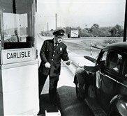 A Turnpike tolltaker at the Carlisle interchange.