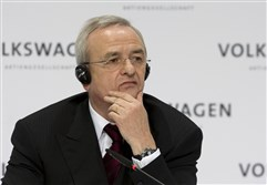 Martin Winterkorn, chairman of the board of the Volkswagen group, during the annual press conference in Wolfsburg, northern Germany in 2009. Prosecutors said today that they are opening investigations against Winterkorn on the suspicion of fraud by selling cars with with manipulated emission tests.