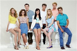 "Lifetime's ""The Unauthorized 'Beverly Hills, 90210' Story"" stars, from left, Abby Ross (as Tori Spelling/Donna Martin), Michele Goyns (Gabrielle Carteris/Andrea Zuckerman), Ross Linton (Brian Austin Green/David Silver), Samantha Munro (Shannon Doherty/Brenda Walsh), Jesy McKinney (Luke Perry/Dylan McKay), Abbie Cobb (Jennie Garth/Kelly Taylor), David Lennon (Ian Ziering/Steve Sanders) and Max Lloyd-Jones (Jason Priestley/Brandon Walsh). It premieres Saturday at 8 p.m."