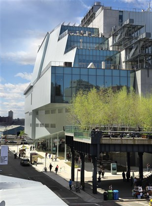 The exterior of the Whitney Museum of American Art in New York City's Meatpacking District.