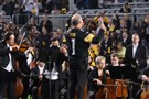 The Pittsburgh Symphony Orchestra performs at halftime at Heinz Field Thursday night during a special presentation of former Steeler Jerome Bettis' Hall of Fame ring.