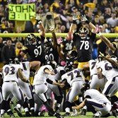 Ravens kicker Justin Tucker converts on the game-winning field goal in overtime against the Steelers on Thursday night.