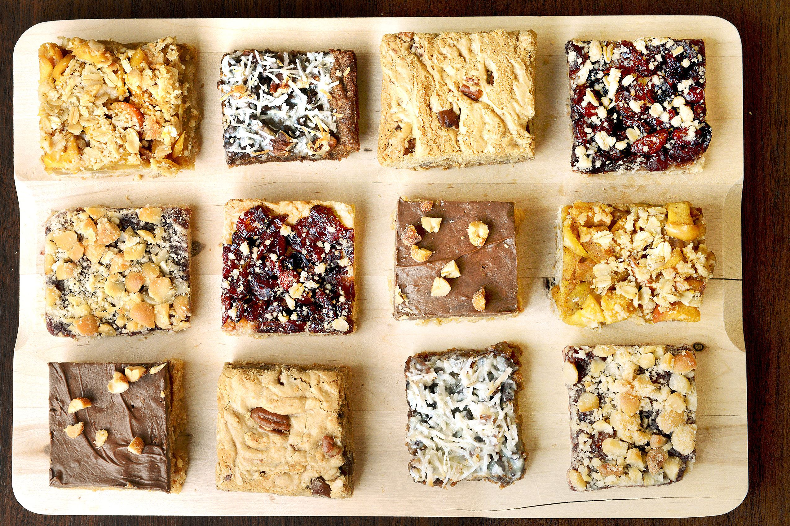 tray of dessert bars featuring Cranberry Pear Bars, Apple Crumb Bars ...