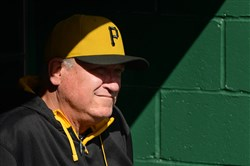 Manager Clint Hurdle looks on before Sunday's game against the Reds at PNC Park. Hurdle has seen his share of elimination games, starting as a player, when he went 5 for 12 in the 1980 World Series that his Royals lost to the Phillies.