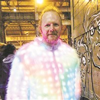 LED coat created by Jim Leonard is part of this year's Maker Faire Pittsburgh.
