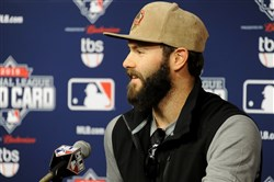 Cubs' Jake Arrieta talks to the media about his upcoming start in the Wild Card Game against the Pirates during a press conference Tuesday at PNC Park.