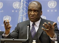 Ambassador John Ashe, of Antigua and Barbuda, the president of the General Assembly 68th session, speaks during a news conference at United Nations headquarters in 2013.