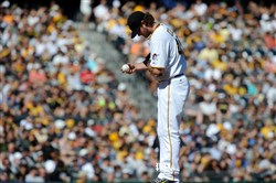 Gerrit Cole prepares to deliver a pitch Aug. 22 against the Giants.