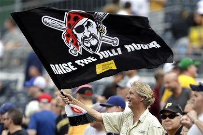 A common sight at PNC Park: a Pirates fan waving the Jolly Roger.