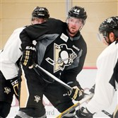 Penguins defenseman Tim Erixon eyes the puck at a practice last month.