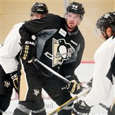 Penguins defenseman Tim Erixon, center, practices in September at the UPMC Lemieux Sports Complex in Cranberry.