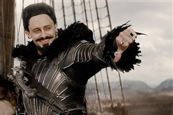 "Hugh Jackman as Blackbeard in ""Pan."""