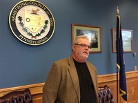 Armstrong County Prison Board Chairman Richard Fink discusses the resignation of warden David Hogue, announced at the board's meeting this morning in Kittanning.