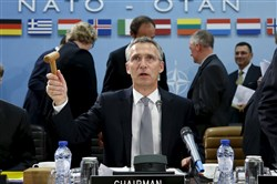 NATO Secretary General Jens Stoltenberg chairs a NATO defense ministers meeting Thursday at the Alliance headquarters in Brussels.