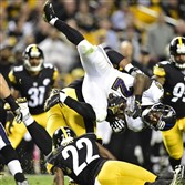 Steelers CB William Gay upends Ravens Justin Forsett in the second quarter last week at Heinz Field.