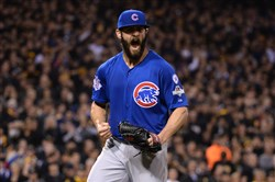 Jake Arrieta reacts after getting a double play to end the sixth inning during the National League Wild Card Game at PNC Park Wednesday, October 7, 2015.