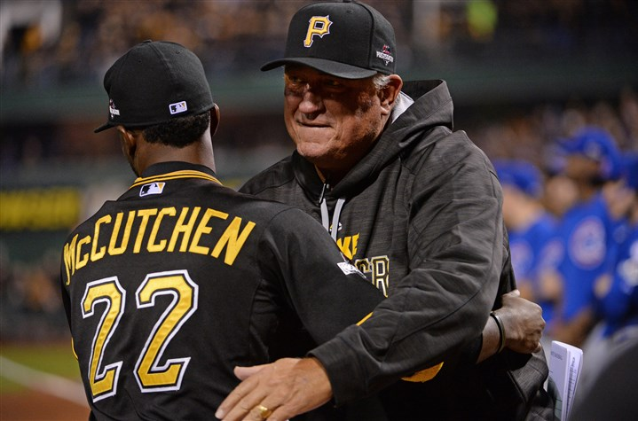 20151007mfPiratesSports02 Pirates manager Clint Hurdle greets center fielder Andrew McCutchen before the 2015 National League wild-card game.