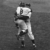 Yogi Berra leaps into the arms of Don Larsen after catching Mr. Larsen's perfect game in the 1956 World Series.