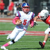 Chartiers Valley quarterback Jake Collins scrambles in the first half of the Colts' win Saturday at Moon.
