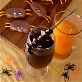 Halloween drinks: Witch's Potion, left, and Floating Spiders.