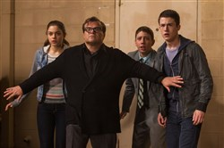 "From left, Odeya Rush, Jack Black, Ryan Lee and Dylan Minnette star in ""Goosebumps."""