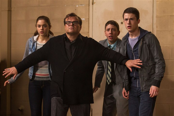 "goosebumps01 From left, Odeya Rush, Jack Black, Ryan Lee and Dylan Minnette star in ""Goosebumps."""