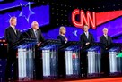 Democratic presidential candidates, from left, Jim Webb, Bernie Sanders, Hillary Clinton, Martin O'Malley and Lincoln Chafee take part Tuesday in Las Vegas in their party's first presidential debate.