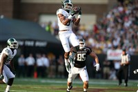 Michigan State defensive back Montae Nicholson (leaping) is one of as many as eight former WPIAL standouts who could be selected in this week's NFL draft.