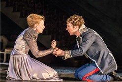 "Anastasia Hill and Benedict Cumberbatch in National Theatre Live's ""Hamlet."""