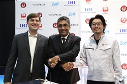 After formally announcing its latest customer Monday in Tokyo, Astrobotic president John Thornton, left, shakes hands with Team AngelicvM CEO Mauricio Guerrero and Takeshi Hakamada of Team HAKUTO, which had previously signed on with Astrobotic. All three are competitors in the Google Lunar XPrize race to the moon.